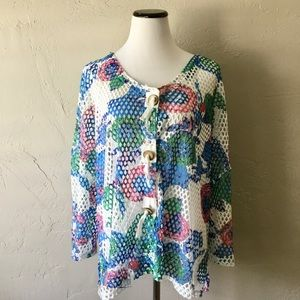 Mirror Image multi color mesh button down top